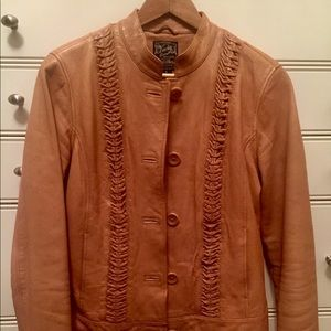 LUCKY Brand leather jacket with braid detail.